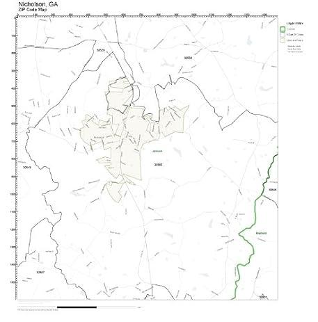 Amazoncom ZIP Code Wall Map Of Nicholson GA ZIP Code Map - Georgia map zip codes