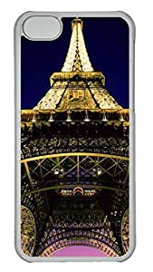 Transparent Hard Plastic Protective Case Cover for iPhone 5C,Eiffel Tower Case Shell for iPhone 5C