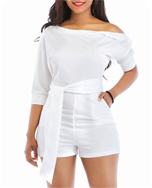 530cab525bf Amazon.com  Shinfy Jumpsuits for Women White Rompers One Shoulder with Belts  Two Piece Outfits S-XXL  Clothing