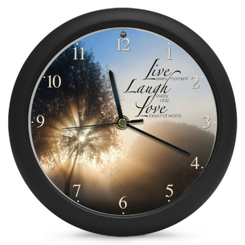 Mark Feldstein Live Laugh Love Inspirational Clock, 8-Inch, Plays Amazing Grace