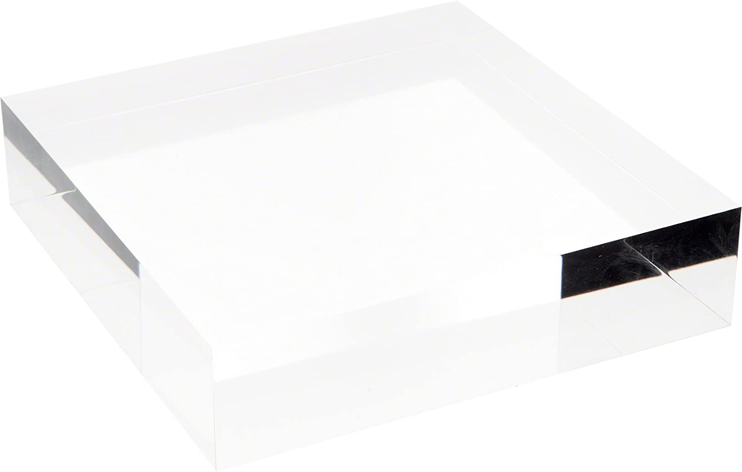 "Plymor Clear Polished Acrylic Square Display Block, 2"" H x 8"" W x 8"" D"