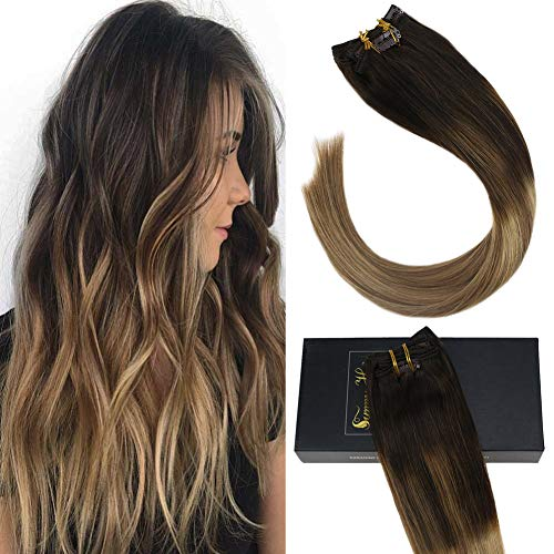 Sunny Clip in Hair Double Weft 24 inch Clip in Hair Extensions Human Hair Balayage Double Weft Straight Remy Human Hair Clip in Darkest Brown to Medium Brown and Blonde 7pcs 120g