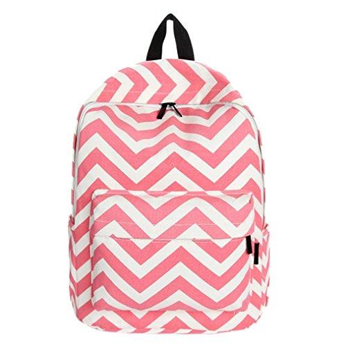 Clode® Nuevo bolso lindo señoras chicas Moire lienzo bolsa mochila mochila escuela de hombro Rojo