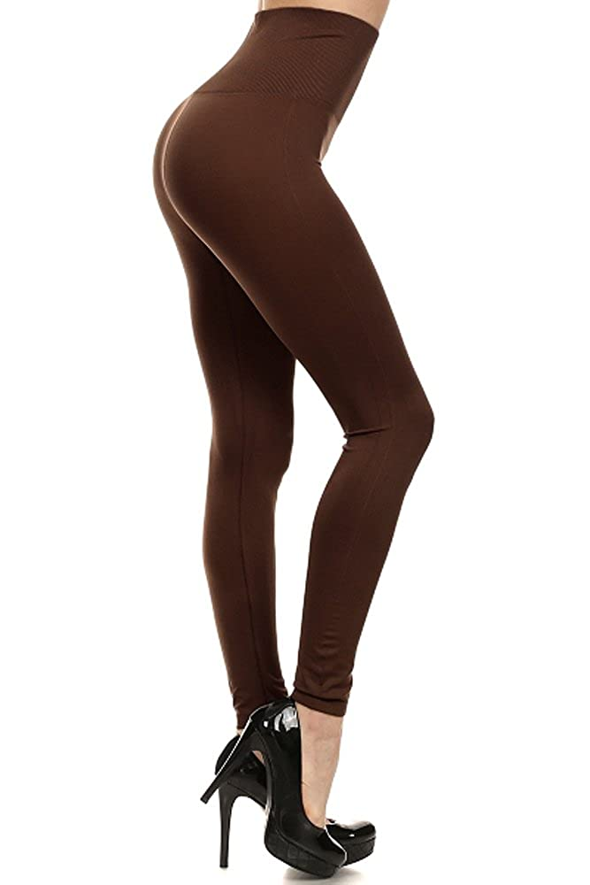 0f9150b75ba19 World of Leggings® High Waisted Figure Contouring Leggings-Beige-OS at  Amazon Women's Clothing store: