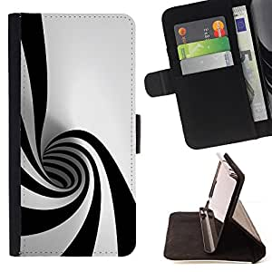 DEVIL CASE - FOR LG G2 D800 - Black White Hypnotic Shape Tunnel Art Psychedelic - Style PU Leather Case Wallet Flip Stand Flap Closure Cover