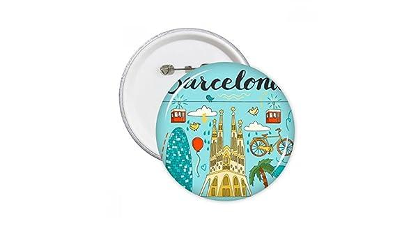 Barcelona España sagrada familia clavijas redondas insignia botón ropa decoración regalo 5pcs: Amazon.es: Oficina y papelería