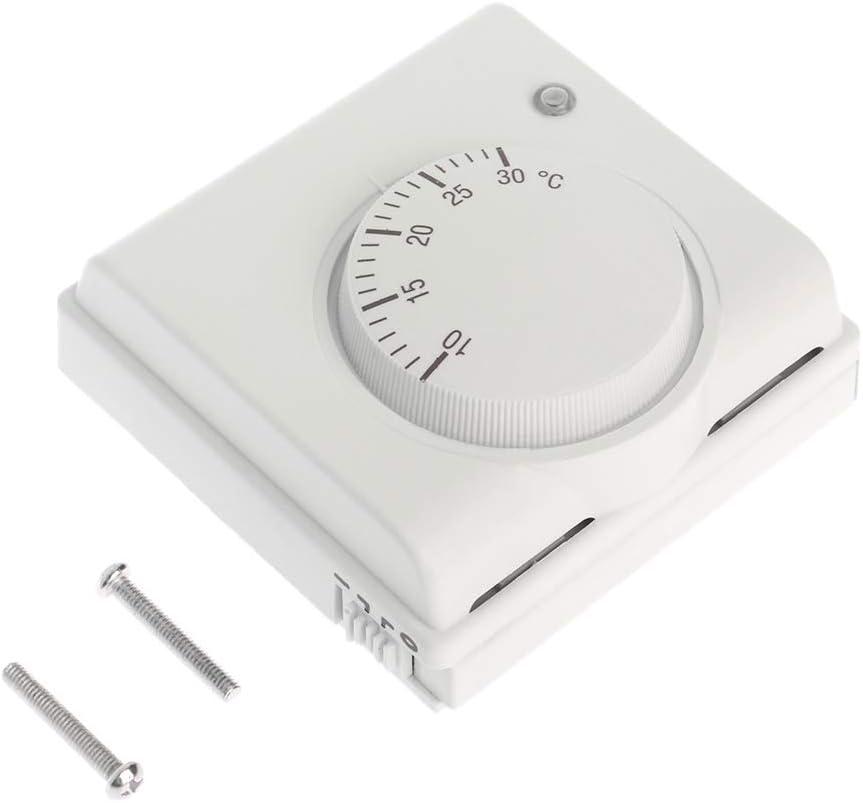 siwetg 220V 6A Termostato De Ambiente Mecánico Controlador De Temperatura Aire Acondicionado Y Calefacción De Caldera De Gas De Piso