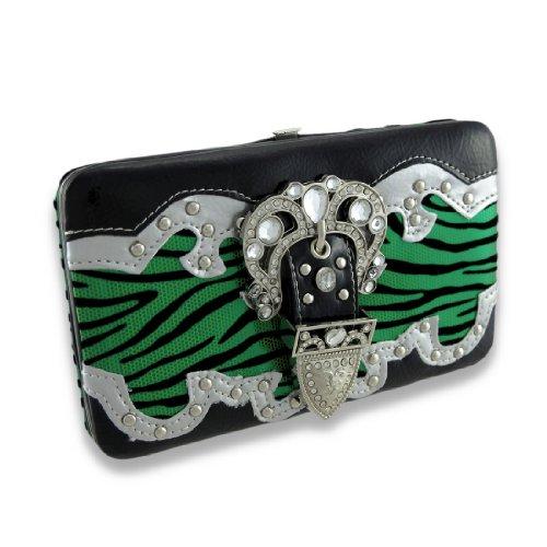 (Metallic Flocked Zebra Print Flat Wallet W/Jeweled Rhinestone Buckle)