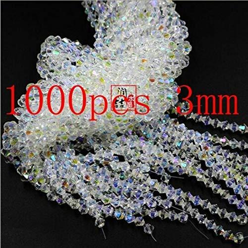 Calvas New 1000 Pieces Exquisite 3mm Bicone Swarovski Crystal Beads for Jewelry Marking Necklace&Bracelet White AB - (Item Diameter: 3mm)