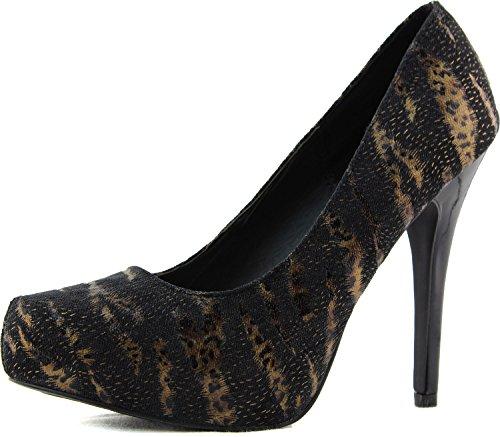 Qupid Women's System-225 Black Metallic Animal Print Pump Shoes, Black, 7 (Animal Print Qupid)
