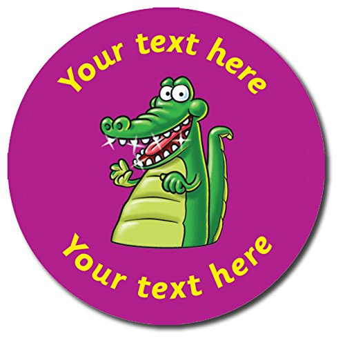 Primary Teaching Services Personalised Clean Teeth Crocodile Stickers Purple 37 Millimetres x 35