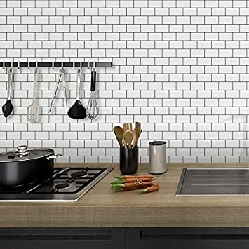 STICKGOO Subway Tiles Peel and Stick Backsplash Stick on Tiles Kitchen Backsplash in Dark Grey Pack of 1, Thicker Design