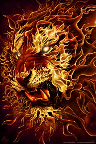 Tiger Fire Tom Wood Fantasy Art Poster 12x18 (Tom Wood Dragon compare prices)