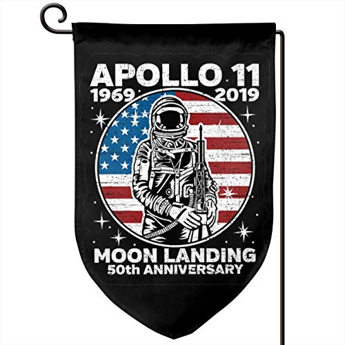 Foxdinner Apollo 11 American Flag 50th Anniversary Home Decoration Garden Flag 12.5 * 18 in (Double Side) Pub Flag -