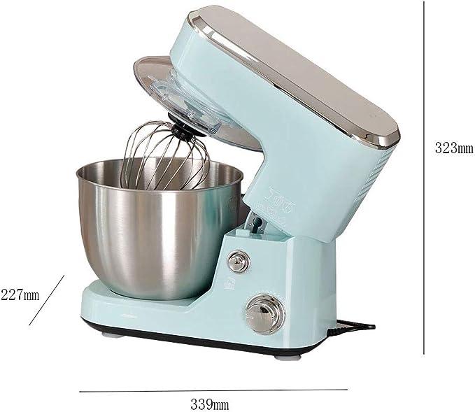 Robot de cocina de 3 velocidades, amasadora de 5 litros con doble gancho para amasar, batidora, batidora, varillas para amasar, cuenco de acero inoxidable, protección contra salpicaduras.: Amazon.es: Hogar
