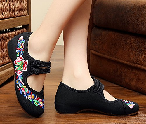 Avacostume Femmes Chinois Traditionnel Broderie Grenouille Appartements Mary Jane Chaussures De Danse Noir