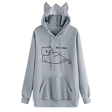 Sylar Sudaderas Para Mujer con Capucha, Simple Color Sólido Tema del Gato Manga Larga Suelto Bolsillo Casual Pullover Camiseta Tops Outwear Jersey: ...