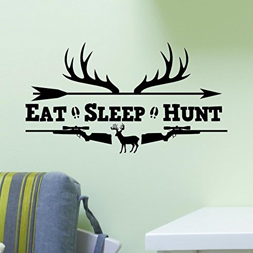Eat Sleep Hunt Rifles Racks Deer Bow Hunting Wall Sticker Vinyl Decal Home Art Decor Soldiers Boys Kids Home Room Decor