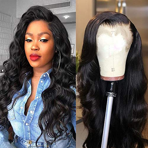 DACHIC 13x4 Brazilian Lace Front Human Hair Wigs For Women 130% Density Brazilian Body Wave Lace Front Wig Pre Plucked with Baby Hair Natural Color (26 ()