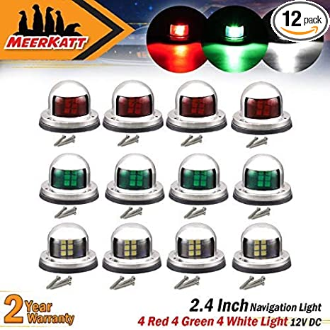 USCG//COLREGS LED NAVIGATION LIGHTS BLACK HOUSINGS-Port//Starboard Marine//Boat//Nav