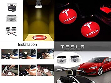 Model X and Model 3 Red White - Tesla Logo and Name - Design 1 CoolKo Newest Power Welcome Lamp Car Led Courtesy Door Projector Light Ghost Shadow Lights for Tesla Model S