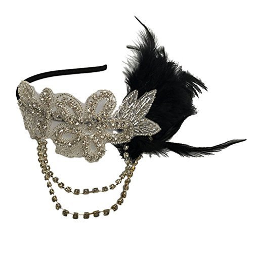 Tinksky Retro Black Feather Headpiece Flapper Chain Flower Hairband Great Gatsby Headband 1920s for Fancy Dress Party Dress-up Accessories - Wedding Valentine's Day gift