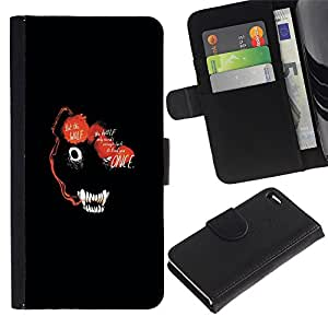 Apple iPhone 4 / iPhone 4S , la tarjeta de Crédito Slots PU Funda de cuero Monedero caso cubierta de piel (Abstract Dark Wolf Animal Face)