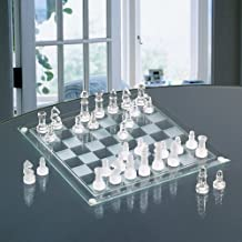 """CHESS AND CHECKER SET-GLASS 14"""" 2 IN 1 GAME SET"""