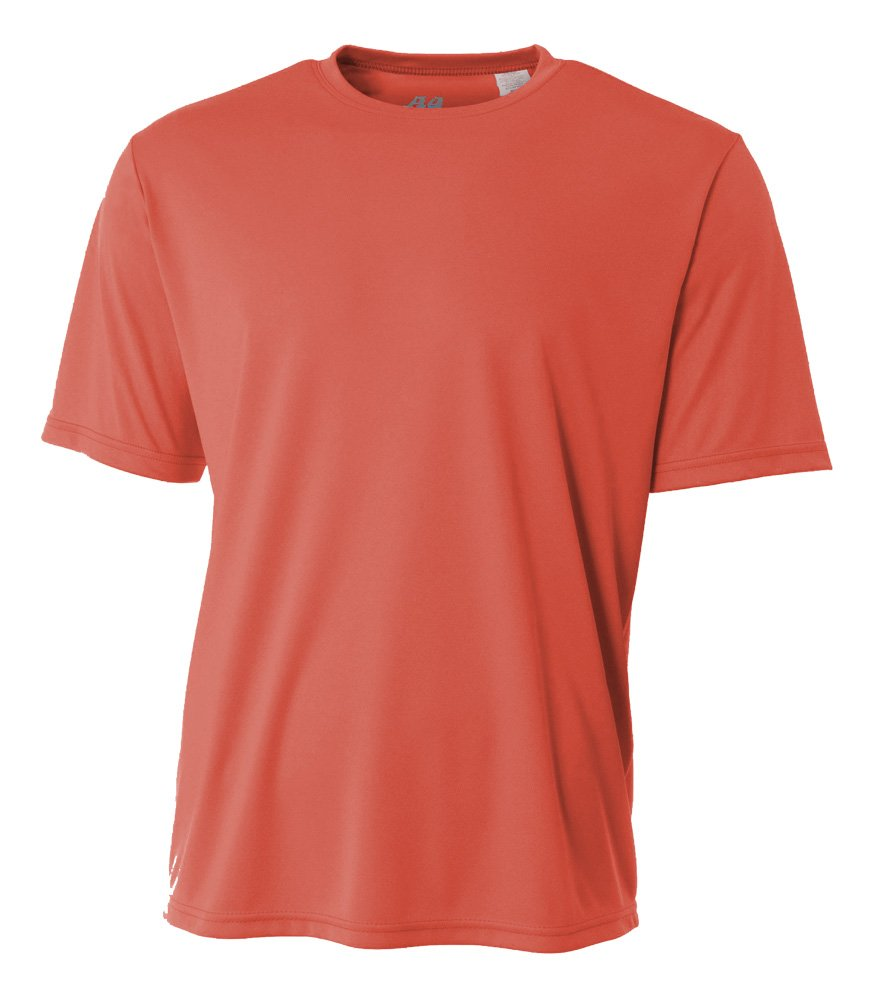 A4 Mens Cooling Performance Crew, Small, Coral
