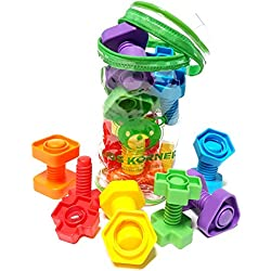 Jumbo Nuts and Bolts Set with Toy Storage and eBook | Montessori Toddler Rainbow Matching Game Activities | Fine Motor Skills Autism Educational Toys for Baby, 1, 2, 3 Year Old Boy and Girl | 12 pc