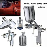 W101 HVLP 1.5mm Tip Paint Spray Gun Gravity Feed Base Coat Sprayer with Cup Filter