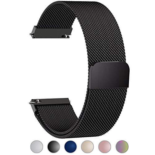 Huawei Watch Band, Fullmosa 18mm Watch Strap with Quick Release Pins for Asus Zenwatch 2/LG Watch Style/Withings Activité/Steel HR 36mm Bracelet Milanese Watch Bands for Men Women, Black by Fullmosa