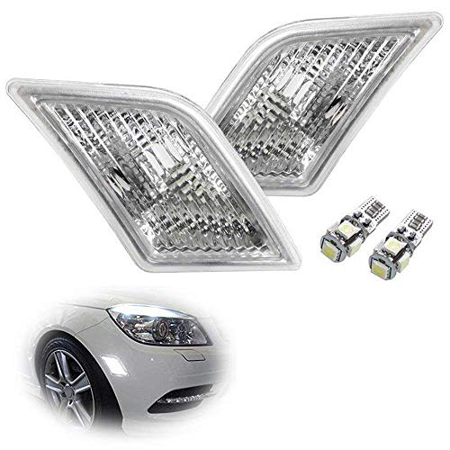 iJDMTOY Euro Clear Lens White LED Bulb Front Side Marker Light Kit For 2008-11 Mercedes Pre-LCI W204 C250 C300 C350 & 2008-2013 C63 AMG, Replace OEM Amber Sidemarker Lamps