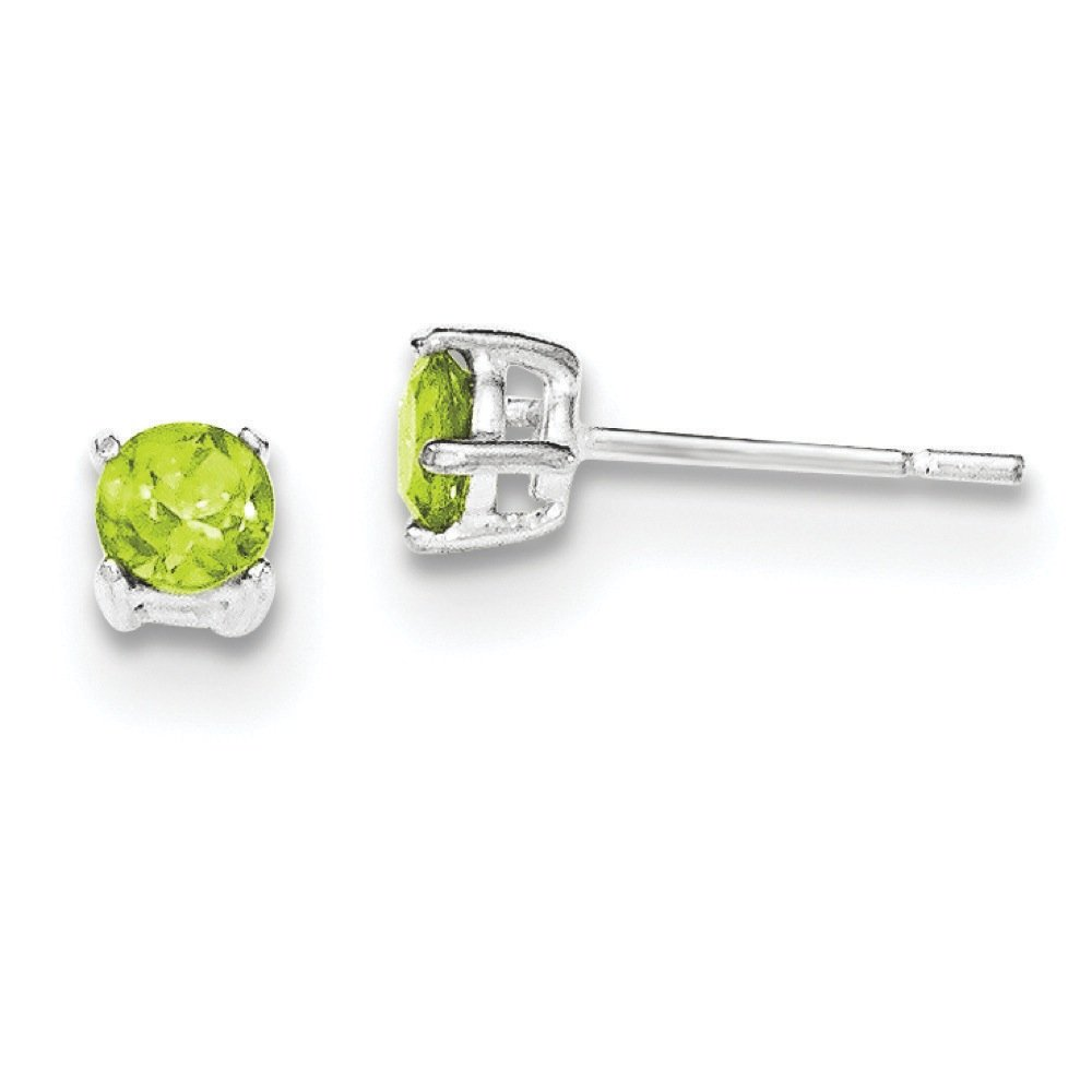 .925 Sterling Silver 4 MM Polished Green CZ Post Stud Earrings