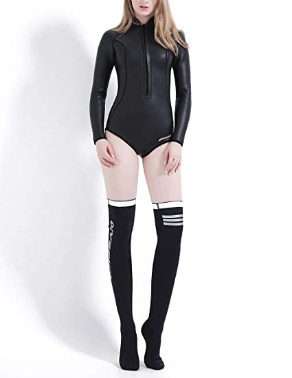 divecica Neoprene Wetsuit Women 3MM Surfing Wetsuits One Piece Swimming  Snorkeling Diving Wet Suit Long Sleeve 8d12b30ec