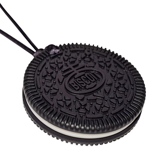 Munchables Biscuit Chewable Necklace - Sensory Chew Jewelry for Kids (Black)