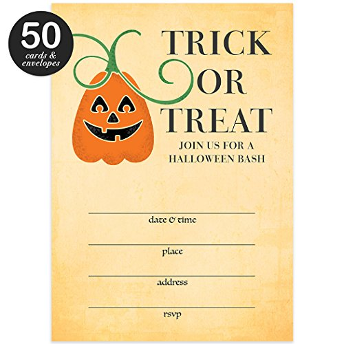 Blank Space Costume (Trick Or Treat Halloween Party Invites & Envelopes ( Pack of 50 ) Rustic Shabby Chic Pumpkin Party Large Blank 5x7