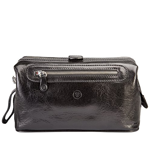 Maxwell Scott® Luxury Italian Leather Men's Toiletry Bag Large (DunoL), Black