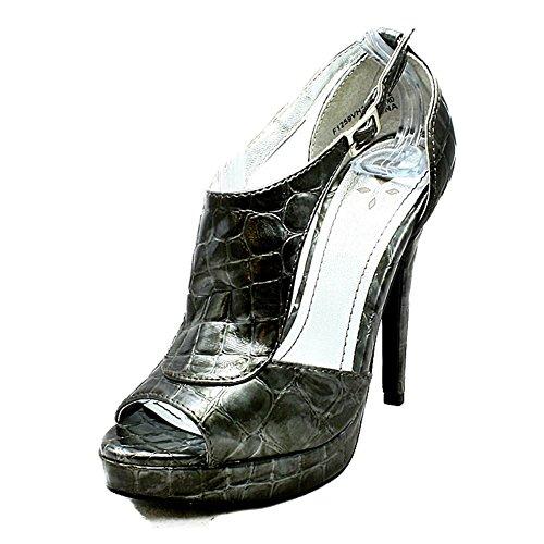 Und Seiten Zinn-croc Heels-plateauschuhe Mit High Offen Peep Toe