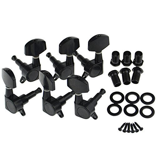 7 String Guitar Tuner - Guitar Tuning Pegs 3R3L Tuning Pegs String Keys Tuners Machine Heads for Strat Tele Electric Black