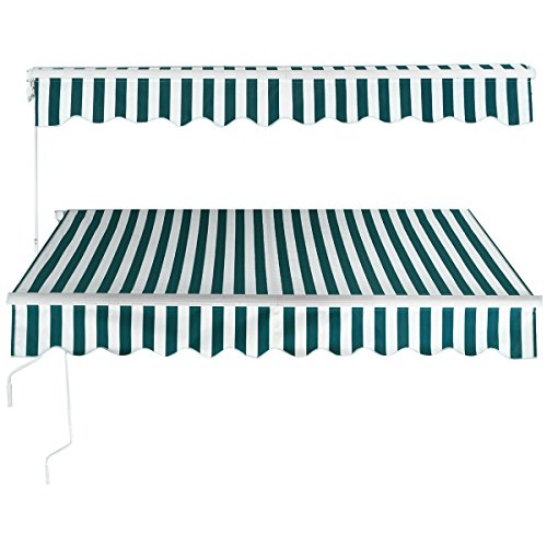 (9TRADING 6.5'X5.0' Manual Patio Canopy Retractable Deck Awning Sunshade Shelter Stripe Green & White,Free Tax,Delivered Within 10 Days)