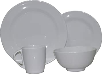 New Plain Pure Whiteround 16 Pcs For 4 Persons Melamine Dinnerware