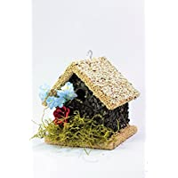 Wooden Birdhouse Covered with Birdseed