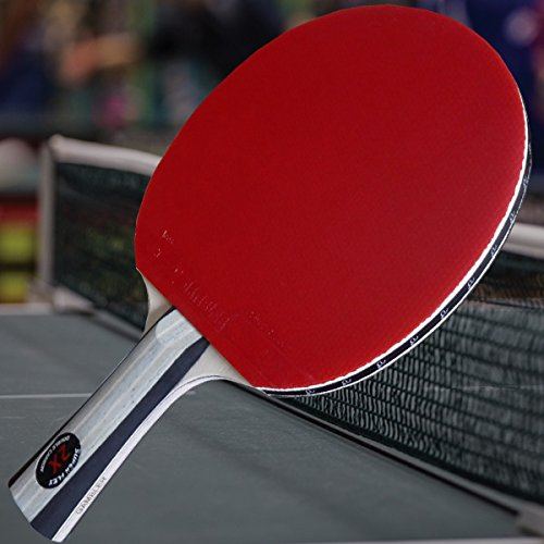 Custom Gambler Professional Table Tennis Paddle with 2X Carbon Flex Blade and Aces Rubbers plus Blue (Flex Paddles)