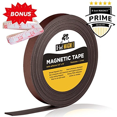 Flexible Magnetic Strip - 1/2 inch x 10 Feet Magnetic Tape with Strong Self Adhesive - Perfect Magnetic Roll for Craft and DIY Projects - Sticky Anisotropic Magnets