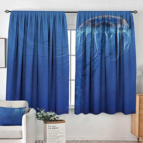 Mozenou Jellyfish Thermal Insulating Blackout Curtain Blue Spotted Jelly Fish Aquarium Life Marine Animals Ocean Predator in The Deep Water Patterned Drape for Glass Door 72