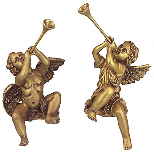 Design Toscano Christmas Decorations – Trumpeting Angel Boy and Girl of St. Peters Square – Holiday Angel Statue