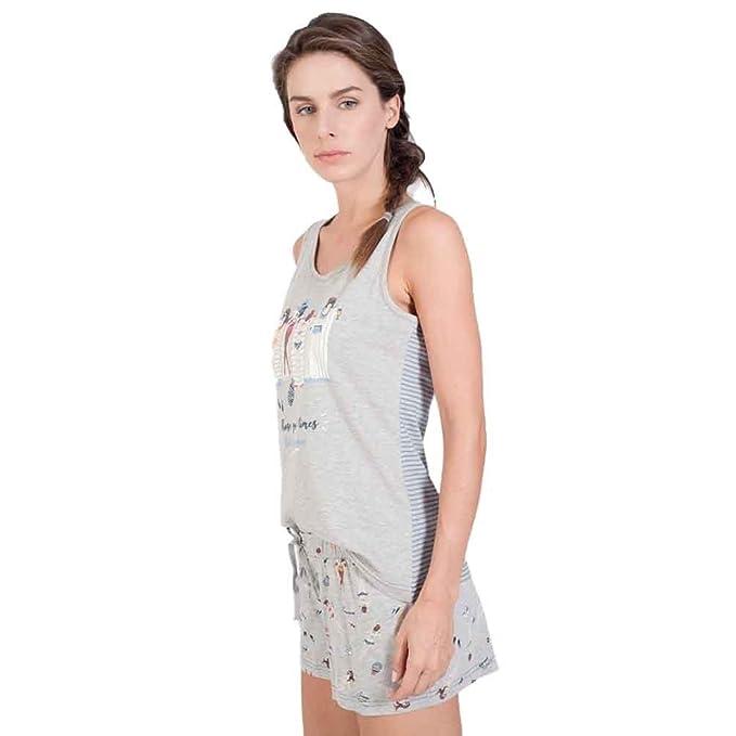 MASSANA Pijama sin Manas Estampado de Mujer P181234 - Gris Vigore, M