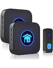 FUVNUAL Doorbell Wireless Doorbell Waterproof Door Bell Ringer kit with 1 Transmitter and 2 Plugin Receivers 55 Melodies Operating up to 300m Range 5 Volume Levels Wireless Doorbell for Home
