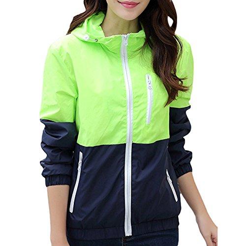 Veloce Sport di Verde Cappuccio Vento Giacca Leggero Cappotto a Nantersan Chiaro Gli Giacca Peso Asciugatura Donna qUxAwA8